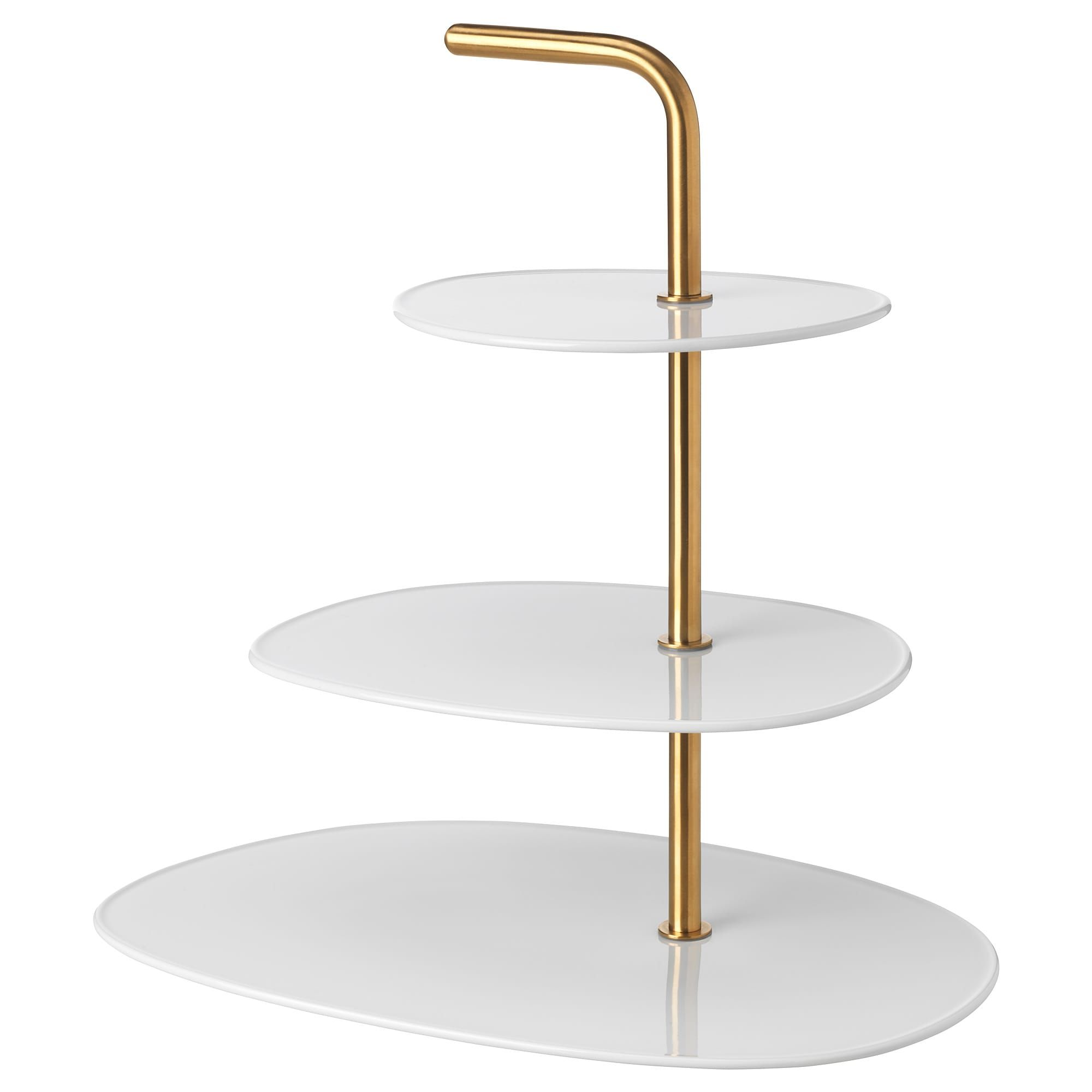 F 214 R 196 Dla Serving Stand 3 Tiers White Brass