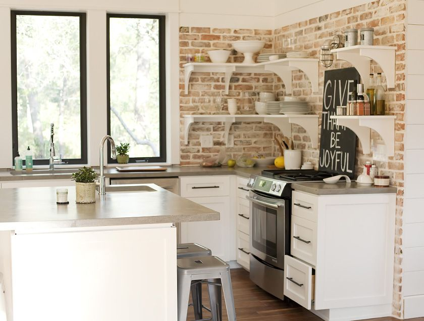 White Kitchen Exposed Brick obsessing over concrete countertops, exposed floating shelves and