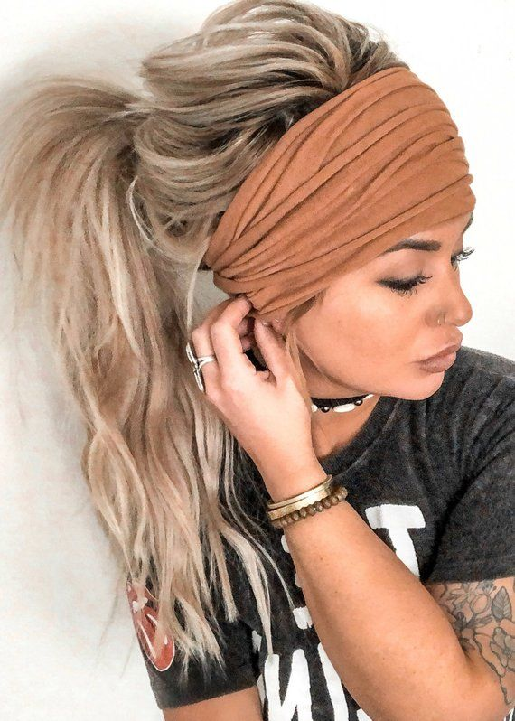 Cognac Scrunch Headband, Extra Wide Headband, Jersey Headband, Turban Jersey Headband, Boho Headband, Boho head wrap (women, teen girls)