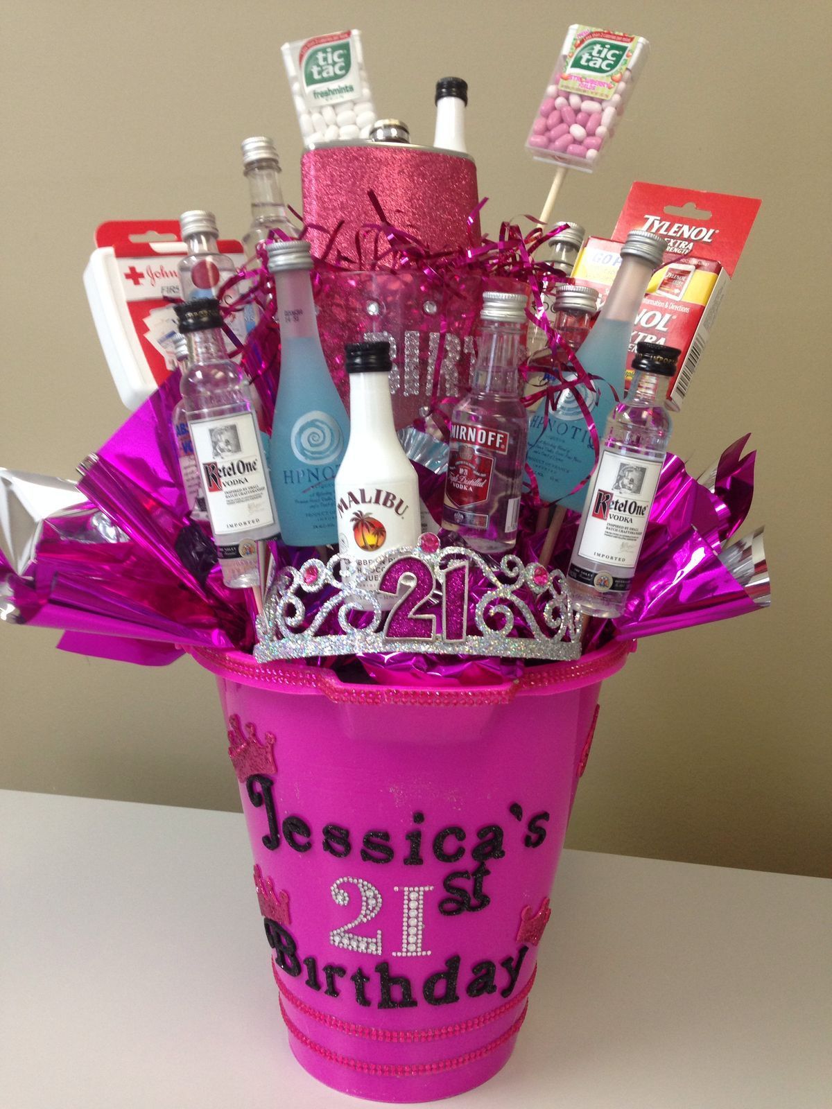 21 Tiara Sparkles Mini Alcohol Bottles Yes 21 21st Gifts 21st Birthday Basket 21st