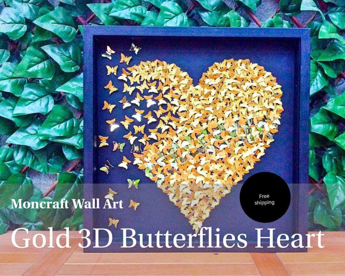 Paper Butterflies |3D Butterfly heart |butterflies |Gold butterflies ...