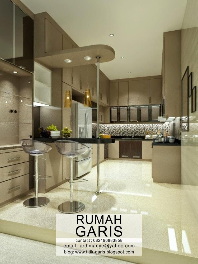 Desain kitchen set dapur bentuk u dan minibar design rumah in 2019 pinterest kitchen for Kitchen with mini bar design