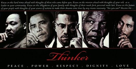 Anon - Thinker (Quintet) Peace power respect dignity love - Open Edition Print 18 x 36 inches Open Edition print giving homage to 5 very strong and well ...