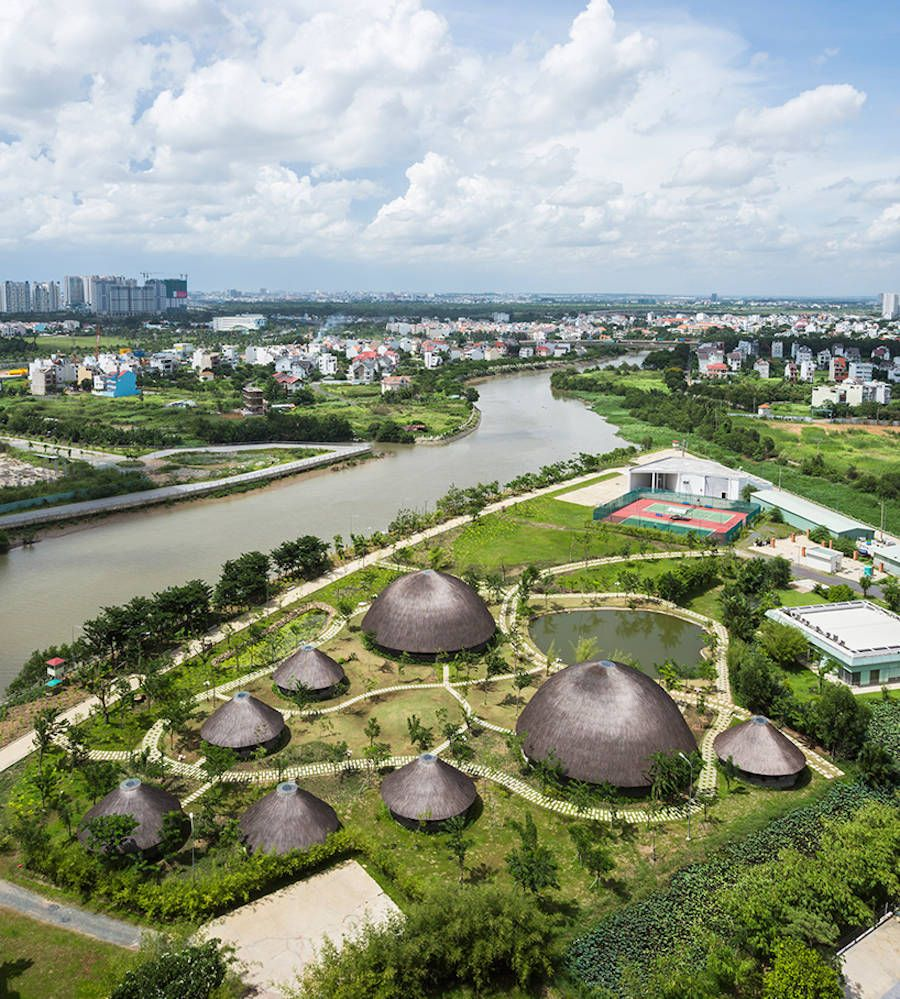 Park Hut Structures: Bamboo Domes Emerging Over Park In Ho Chi Minh