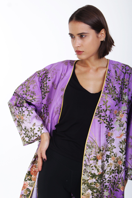 Kimono robe boho purple silk cotton kimono dress green