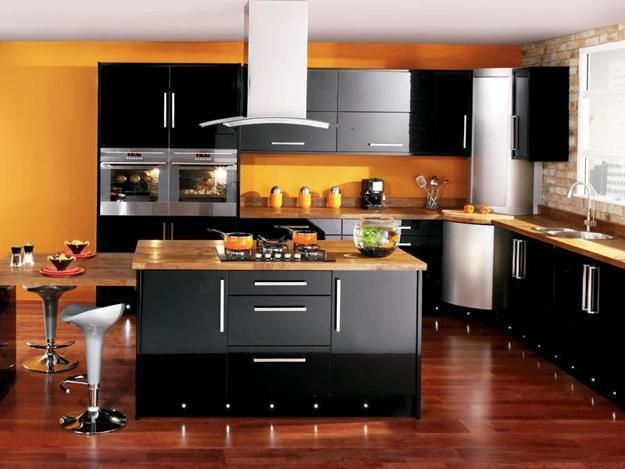 25 Black Kitchen Design Ideas Creating Balanced Interior Decorating Color Schemes Interior Design Kitchen Modern Kitchen Interiors Black Kitchen Furniture