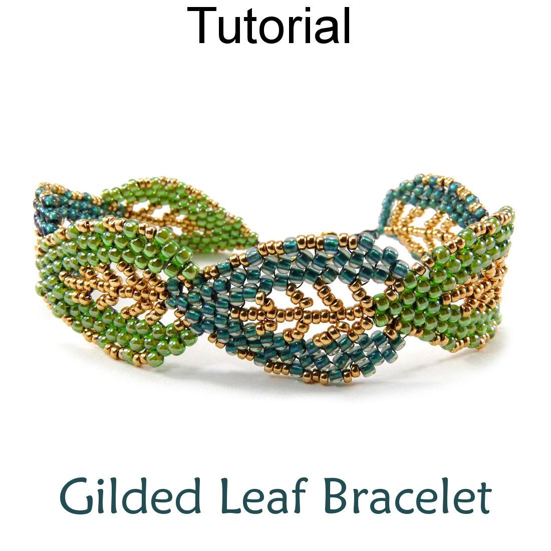 gilded leaf bracelet beaded russian leaves beading tutorial pattern simple bead patterns - Beaded Bracelet Design Ideas