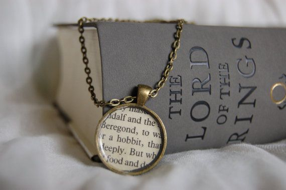 """Lord of the Rings """"Hobbit"""" bookpage necklace"""