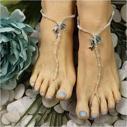 8a75c19a3e5b31 DOLPHIN beaded barefoot sandals