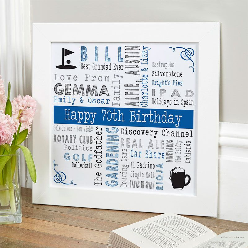 70th Birthday Gift For Him Of Favourite Things With Changeable Corners Icons Royal Blue Noir Colour Option Beautiful Personalised Word Art Gifts To