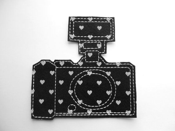 Iron on patch camera applique with flash in black and white heart