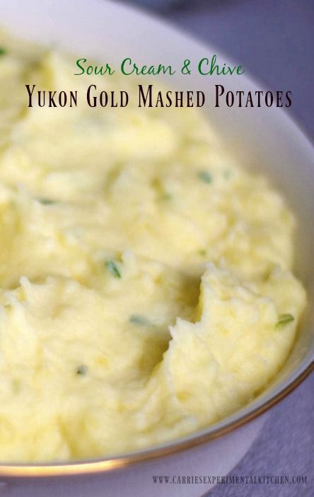 Sour Cream And Chive Yukon Gold Mashed Potatoes Recipe Sour Cream Chives Gold Mashed Potatoes Recipe Mashed Potatoes
