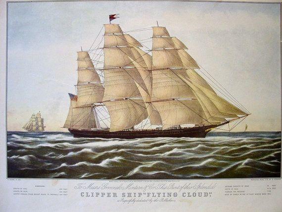 CURRIER & IVES Vintage 1852 Art Print Clipper Ship by junkbay