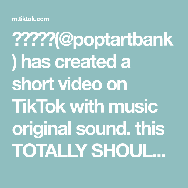 Poptartbank Has Created A Short Video On Tiktok With Music Original Sound This Totally Should Blow Up Fyp Todor The Originals Music Icy Hot