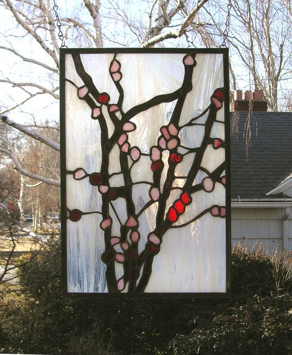 Stained Glass Window Panelcherry Blossoms 12 X Etsy In 2020 Stained Glass Window Panel Stained Glass Lighting Stained Glass