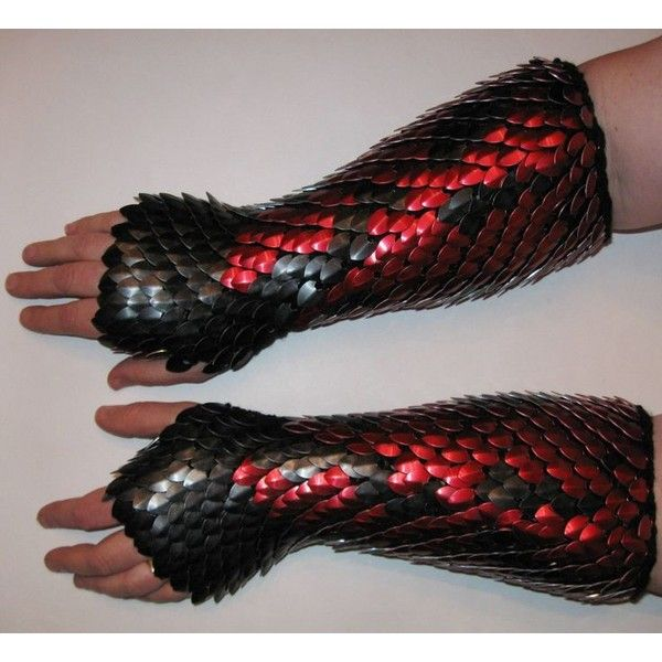 Scale Maille Knitted Dragonhide Armor Gauntlets Elbow Length Fully... ❤ liked on Polyvore featuring home, kitchen & dining, kitchen gadgets & tools and armour