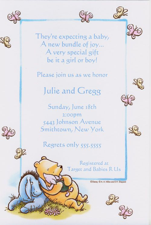 Classic pooh friends butterfly baby shower invitation features classic pooh friends butterfly baby shower invitation features classic winnie the pooh eeyore and piglet lounging on a patch of grass filmwisefo
