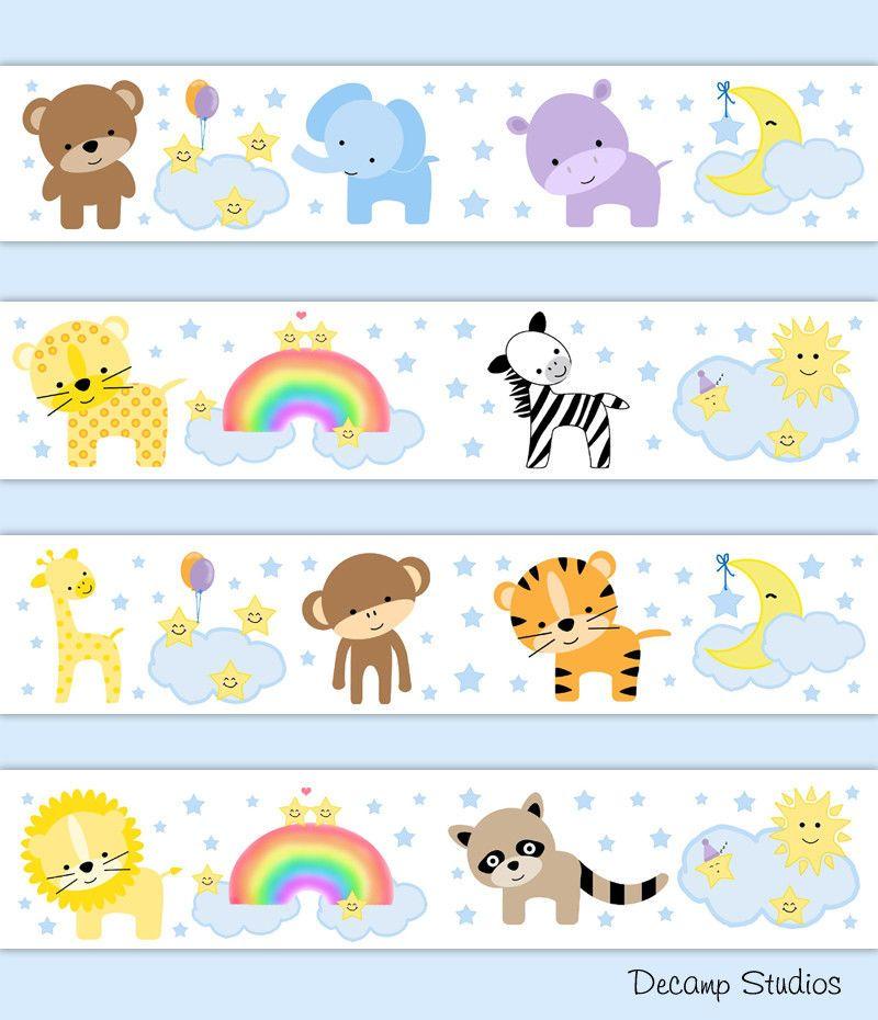 Safari Jungle Animal Baby Nursery Moon Star Wallpaper Border Wall Art Decals Decampstudios
