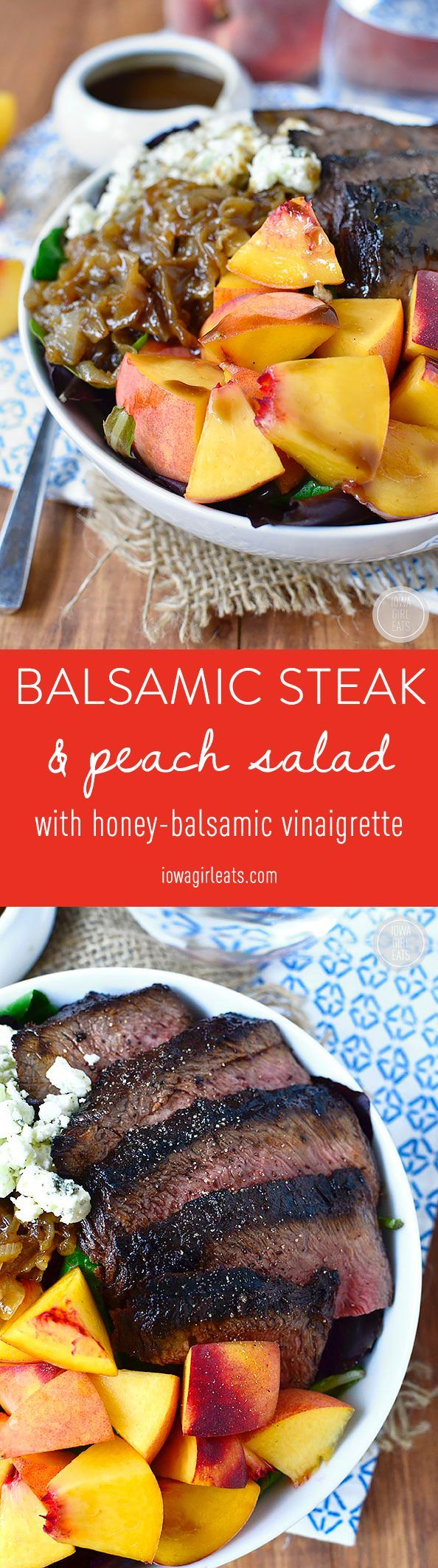 Balsamic Steak and Peach Salad is a fresh and filling entree salad with the sweet and savory flavors of balsamic vinegar, peaches, and gorgonzola cheese. #glutenfree | iowagirleats.com