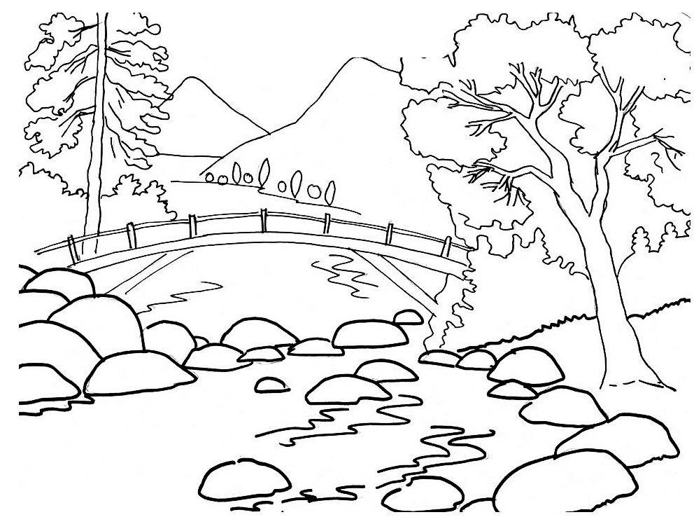 Mewarnai Gambar Pemandangan Jembatan Adult Coloring Pages
