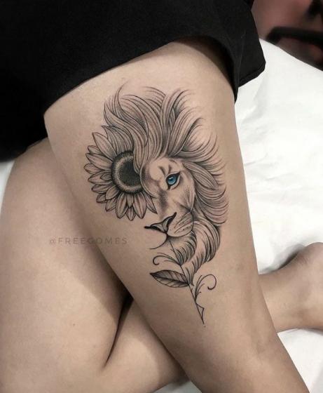 @freegomes @deliicatetattoo #delicatetattoo #tattooinspiration #tattoo #inked #tattooedgirls #inkspiration #tattoowork #tattooart #instatattoo #tattooflash #womantattoo   tatuagem   tatuagem feminina   garota   womens tattoo   delicada   cute   fofo   leão   lion   flower