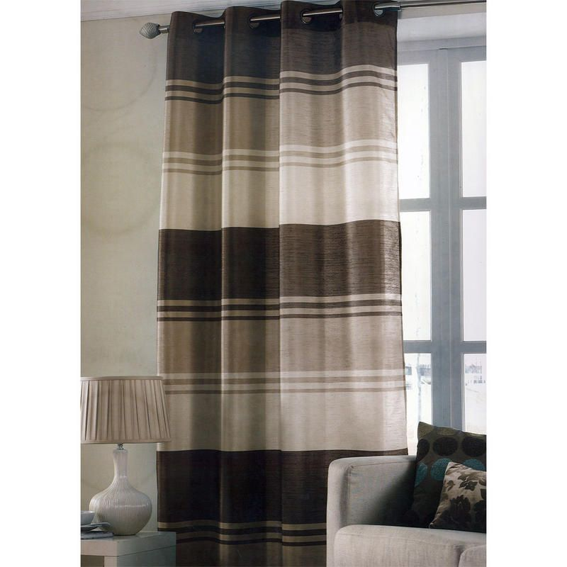 Delightful Chocolate Brown Stripe Ring Top One Window Curtain Panel 145 X 228cm New  Preview