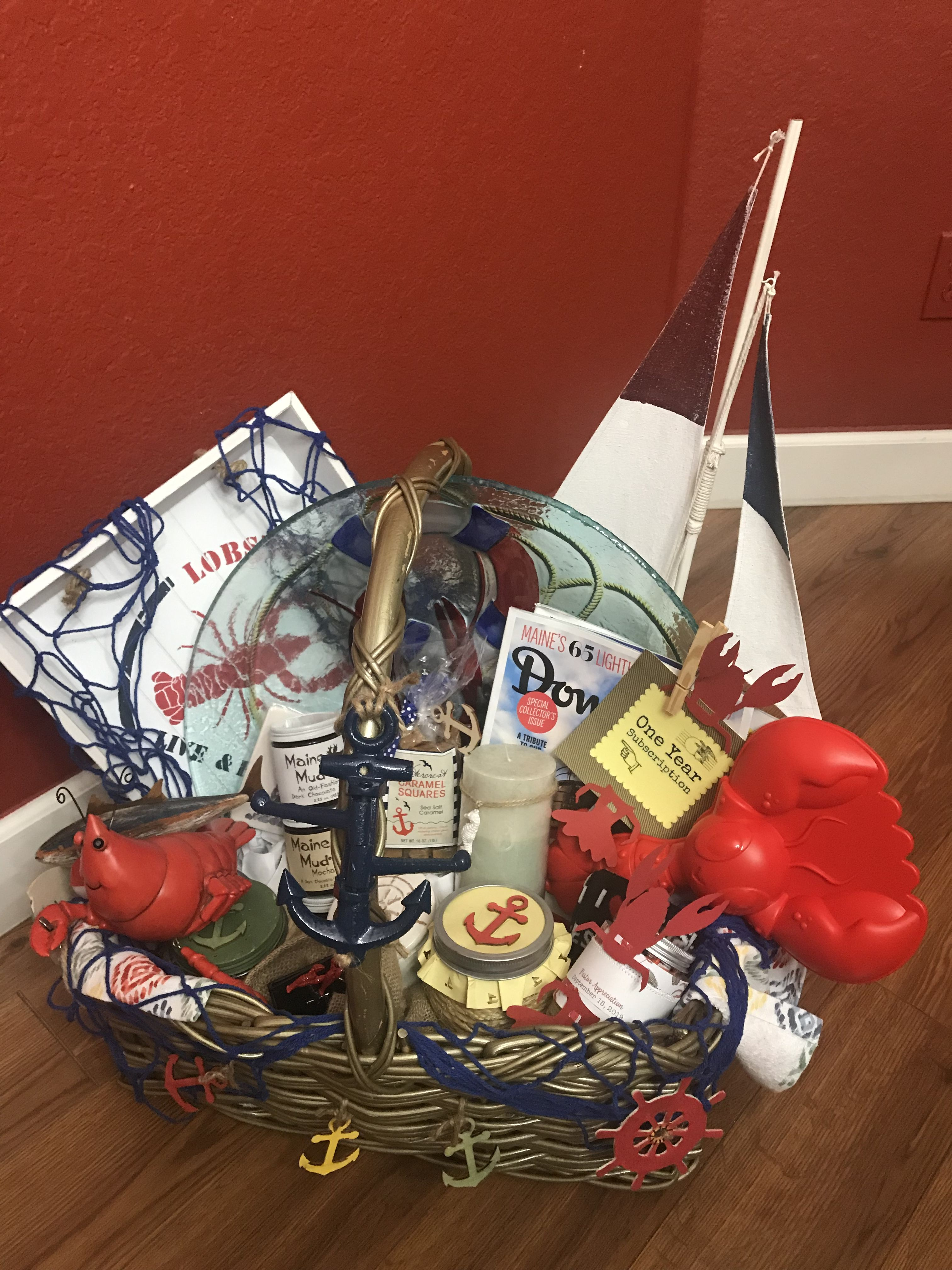 Maine lobster nautical gift basket nautical gifts