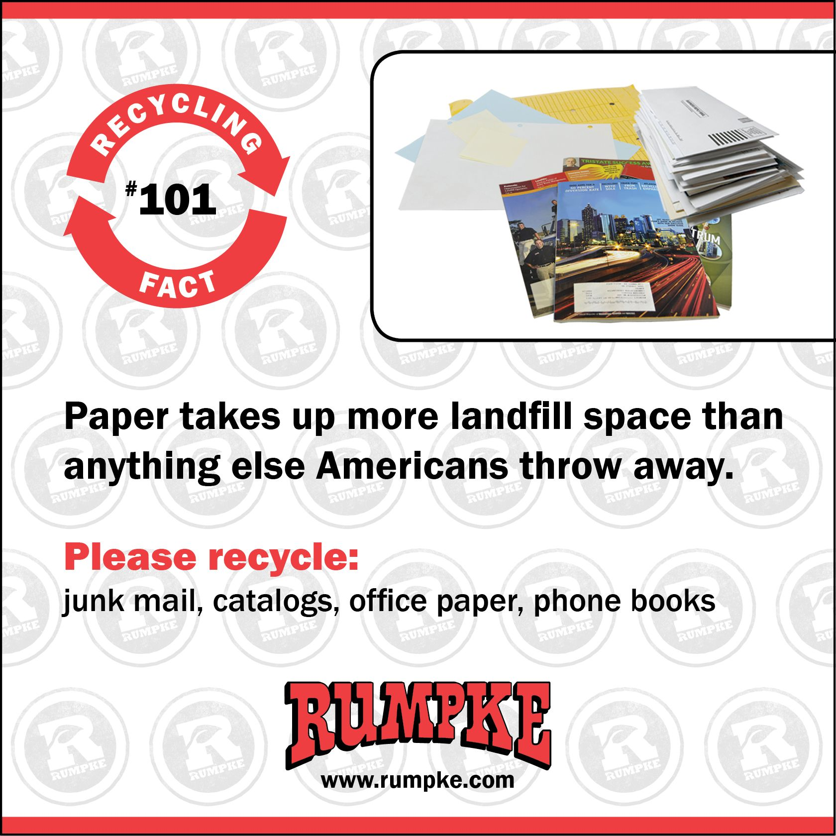 Recycling Fact No  101: Paper takes up more landfill space