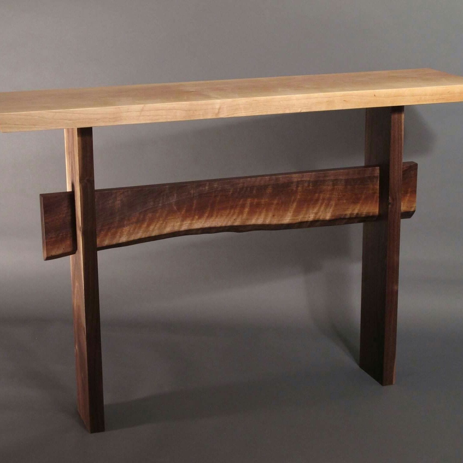 Charming Console Table W/ Live Edge Stretcher  Minimalist Modern Hall Table, Narrow  Entry Table  STATEMENT COLLECTION
