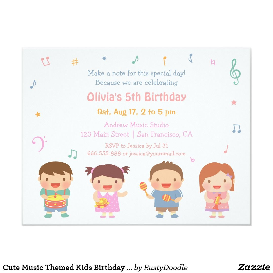 Cute Music Themed Kids Birthday Party Invitations   Kids birthday ...