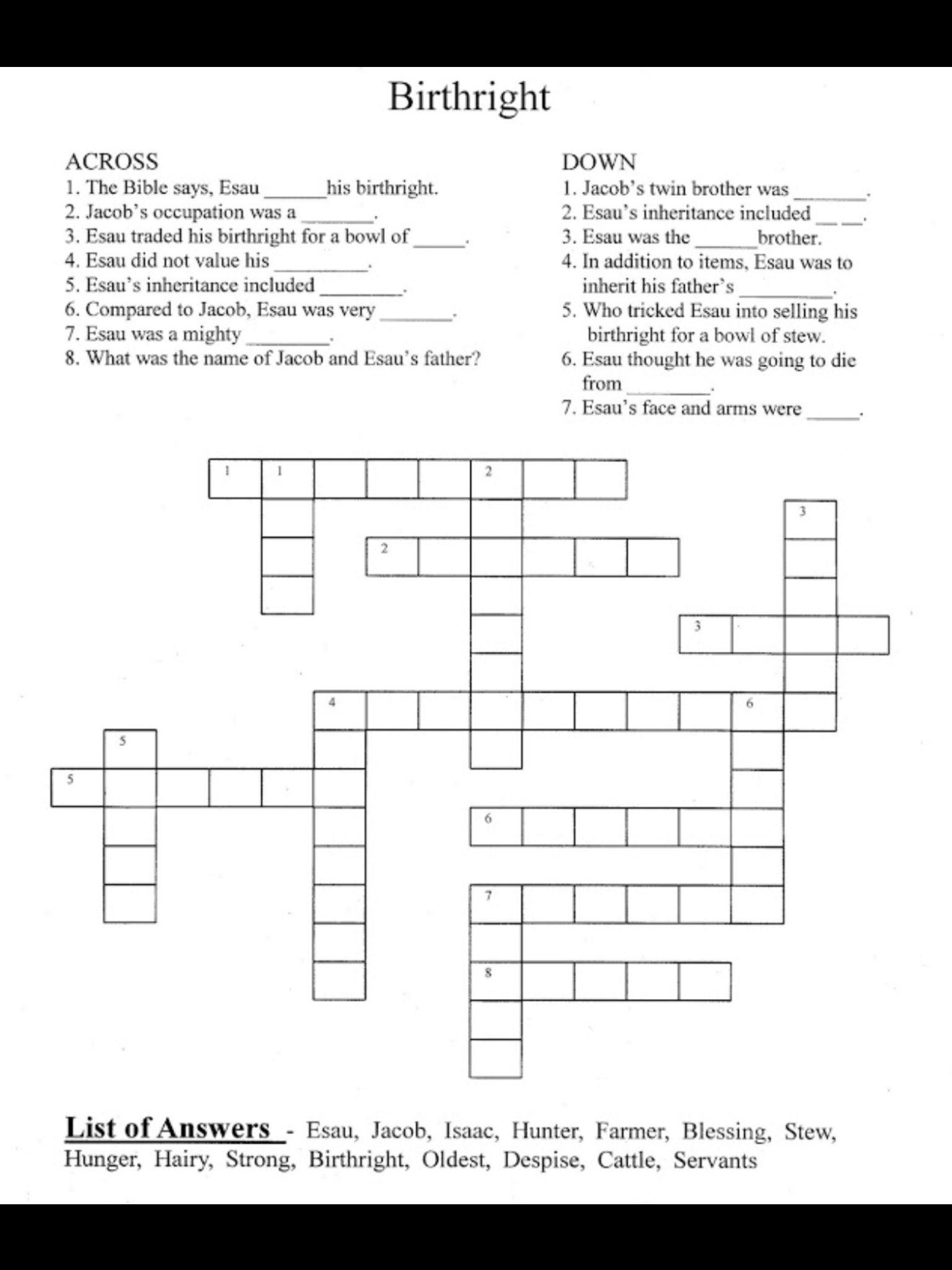 Crossword Puzzle | VBS - Jacob and Esau | Pinterest ...