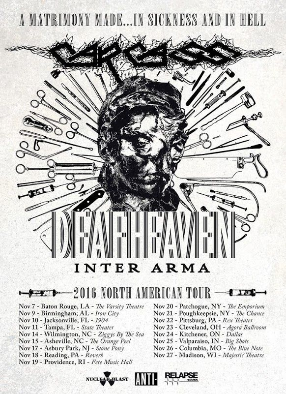 CARCASS Announce Fall US Tour Dates with DEAFHEAVEN, INTER ARMA