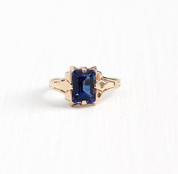 Vintage 10k Rosy Yellow Gold Created Blue Sapphire Ring Size 3 Signed Ob Ostby Barton Titanic E Blue Sapphire Rings Vintage Style Rings Antique Rings Vintage