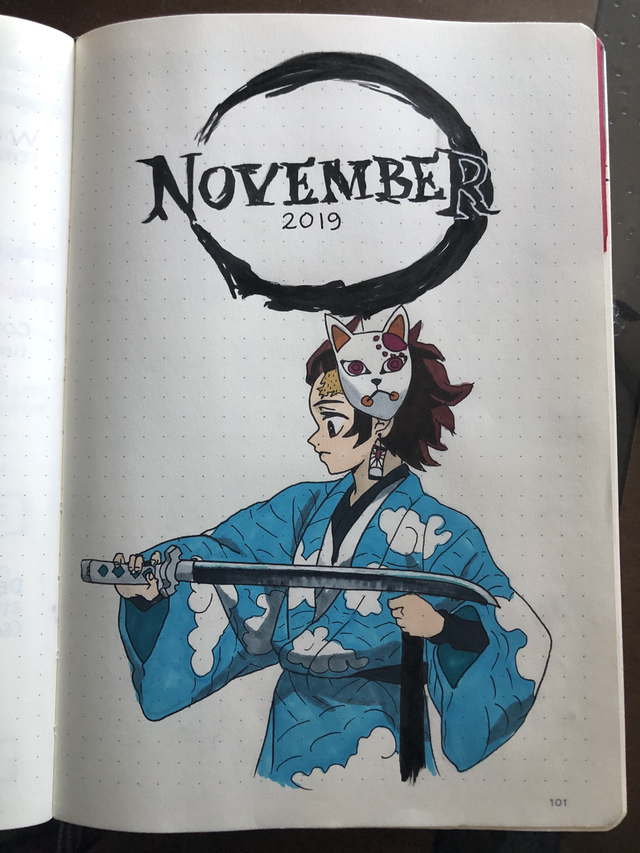 My Cover This Month Makes Me Happy Tanjiro Kamado From Demon Slayer Kimetsu No Yaiba Bulletjournal Bullet Journal Stickers Anime Book Bullet Journal Art