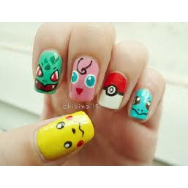 did a pokeball nail art design a little while ago but these look cute too  with the characters! Which Pokemon was your favorite? - Pokemon Nails :) Hahaha Cute! #Nails Nails Pinterest Pokémon