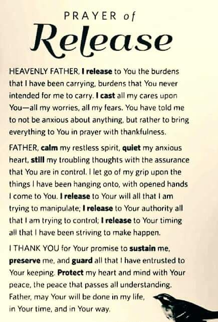 PRAYER OF RELEASE God Is Pinterest Bible, Spiritual and - food protection course answers