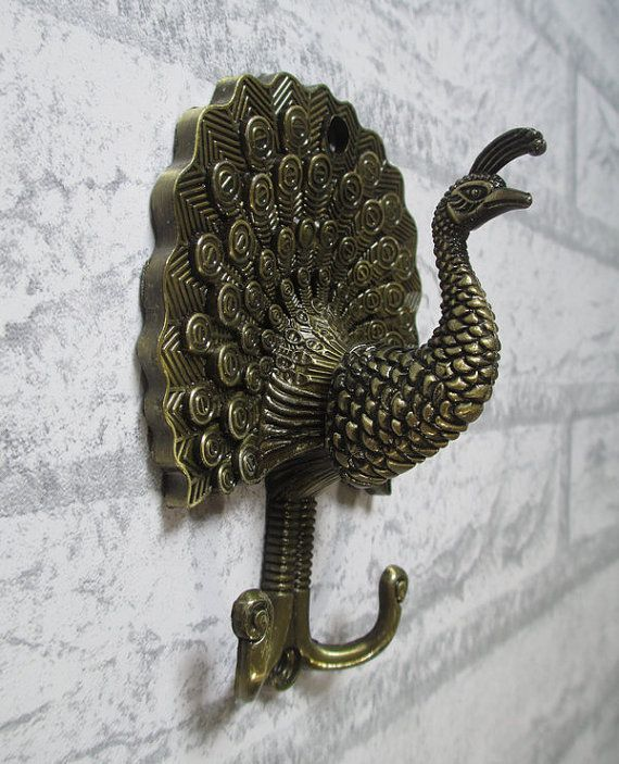 Peacock Wall Hooks / Wall Hook / Rustic Metal Decorative Hooks / Antique Bronze Curtain Tie Backs Hardware by LynnsGraceland, $9.00