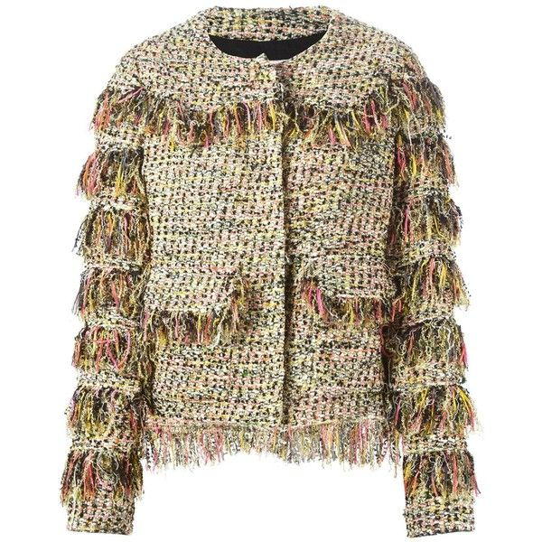 MSGM Bouclé Frayed Cropped Jacket (58.825 RUB) via Polyvore featuring outerwear, jackets, metallic, msgm, brown cropped jacket, brown jacket, multi color jacket и multi colored jacket