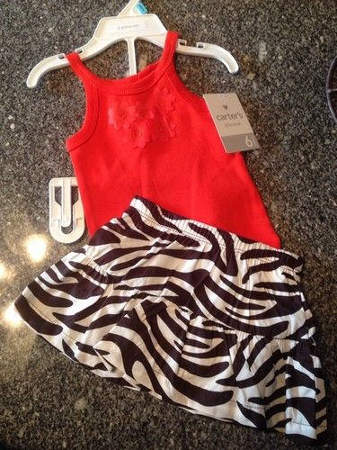 Carters Baby Girls Clothes Size 3 6 Months Sz6m Zebra Printed Skirt