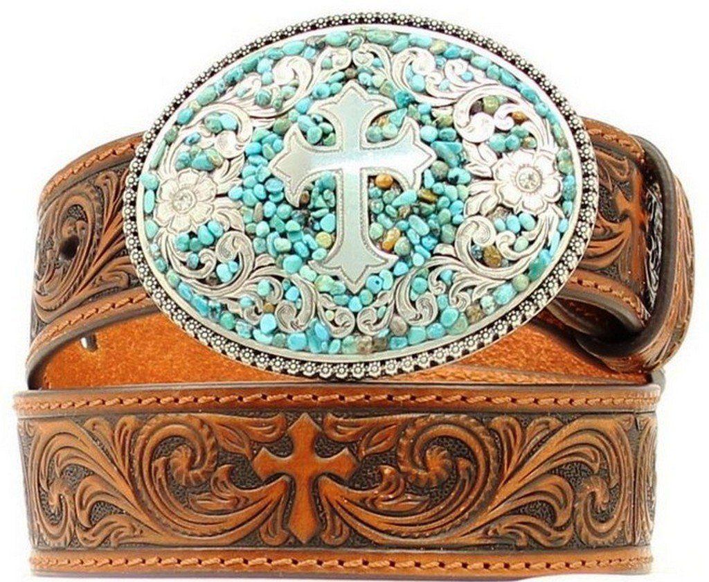 Little Kids//Big Kids M/&F Western Girls Scroll Embroidery Turquoise Cross Belt