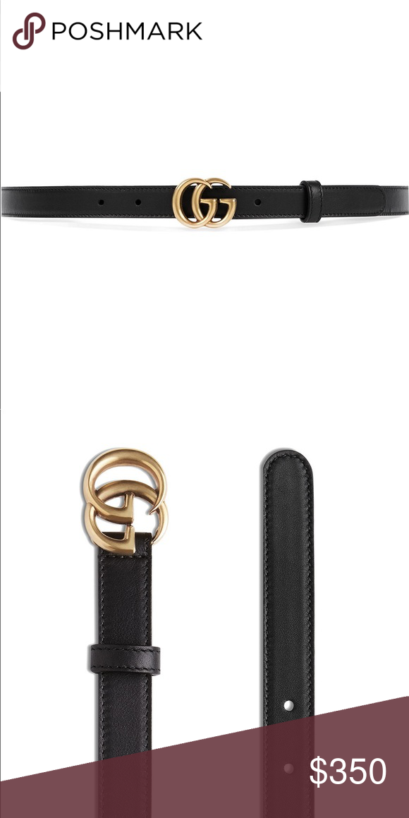 """a12b1bb79e7 Black Gucci Thin GG Leather Belt 32"""" 80cm Thin leather Gucci belt with  interlocking G buckle Gucci Accessories Belts"""