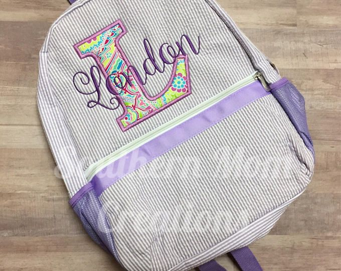 1ceae59861 Purple Seersucker backpack