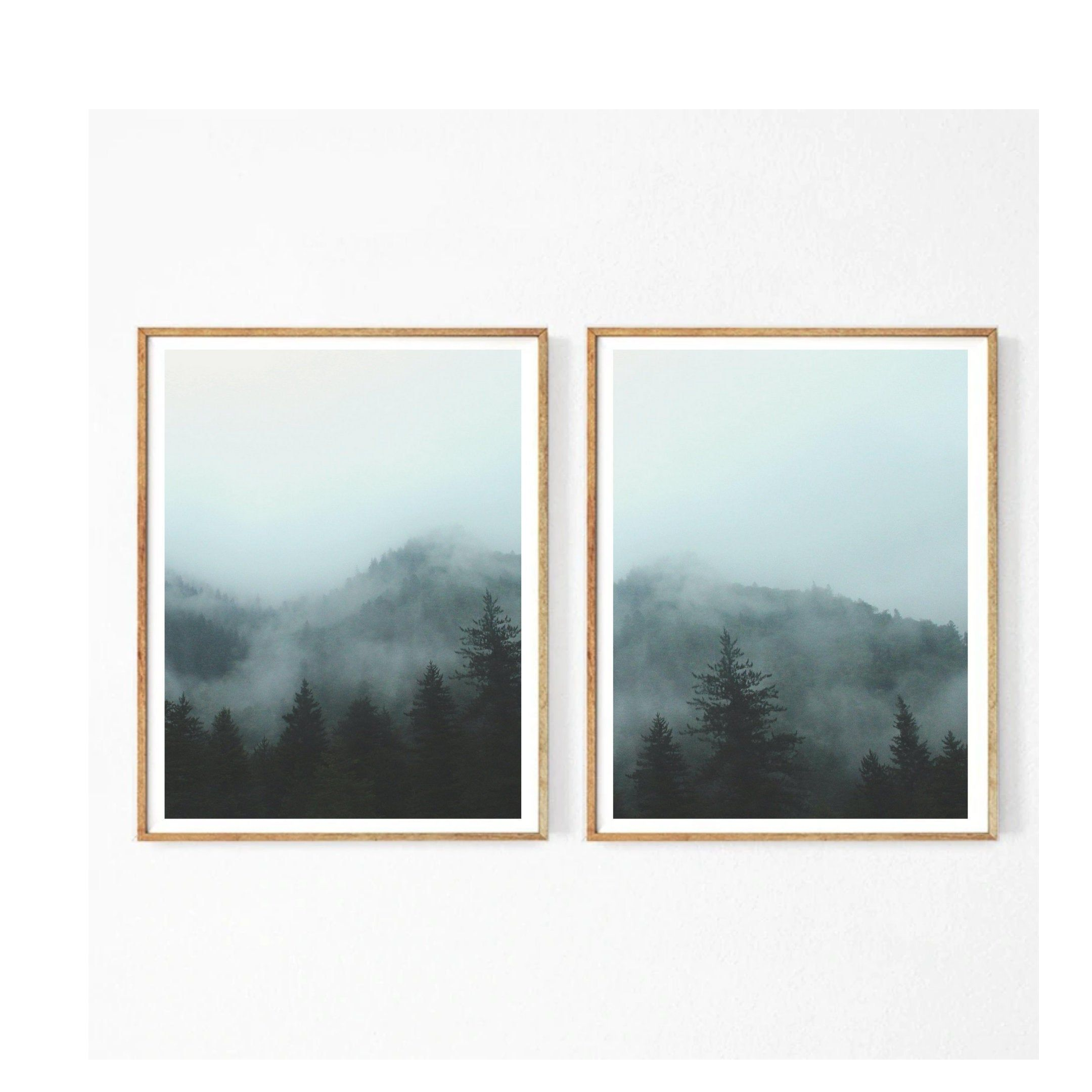 Set Of 2 Prints Forest Wall Art Forest Print Foggy Forest Forest Poster Nature Wall Art Nature Prints Forest Land In 2020 Forest Wall Art Nature Wall Art Nature Prints