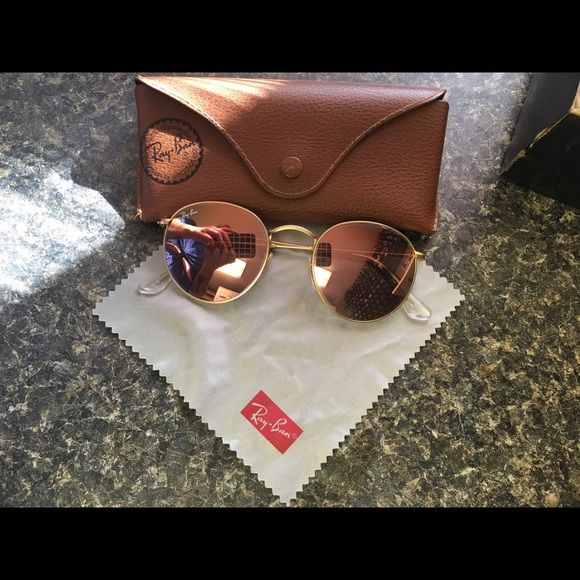 8306230dee46e4 ROSE GOLD RAY BAN 3447 ROUND SUNGLASSES BOHO No visible signs of wear.  Stored in case when not in use. Will take 80 Ray-Ban Accessories Sunglasses