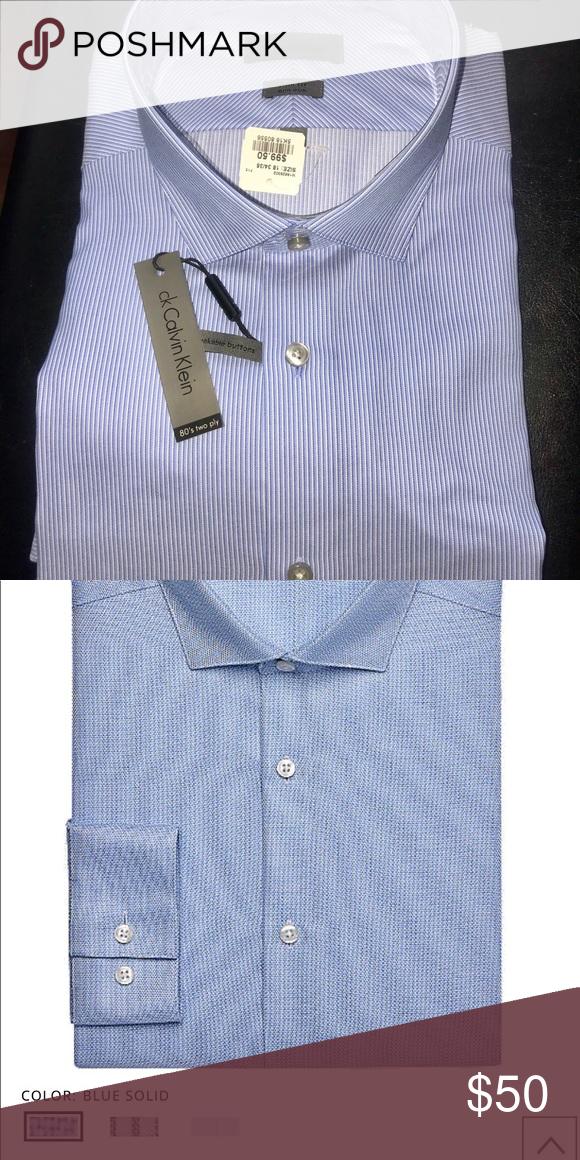 Calvin Klein Infinite Blue Slim Fit Dress Shirt A Light Blue Hue And Trim Tailoring Create A Flatter In 2020 Slim Fit Dress Shirts Fitted Dress Shirts Slim Fit Dresses