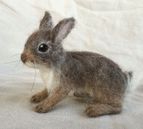 Needle Felted Cottontail Bunny Rabbit Baby Poseable Woodland Animal #needlefeltedbunny
