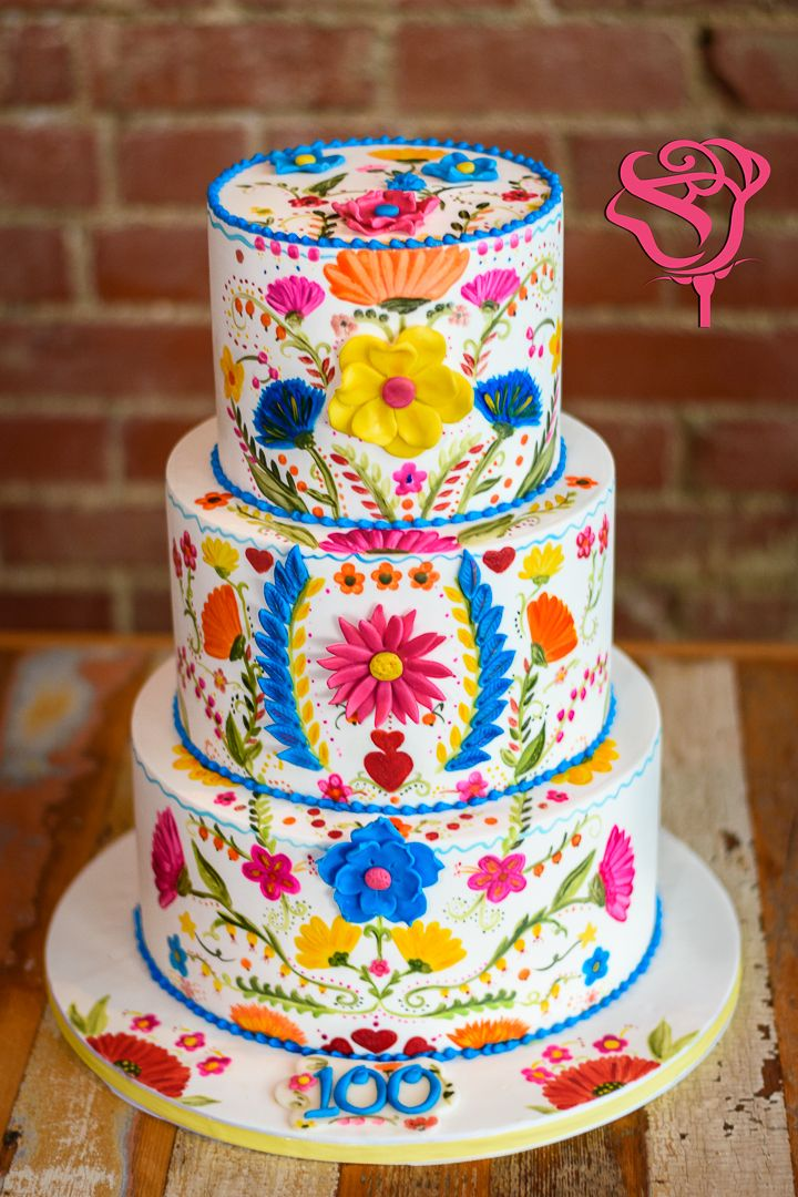 Mexican embroidery inspired wedding cake  Hand painted cake with     Mexican embroidery inspired wedding cake  Hand painted cake with cocoa  butter  Mexican wedding  Mexican party  Fiesta cake