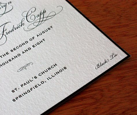 Mention your Black Tie dress code somewhere within your wedding invitation or enclosure… | Letterpress wedding invitations. Wedding invitations ...