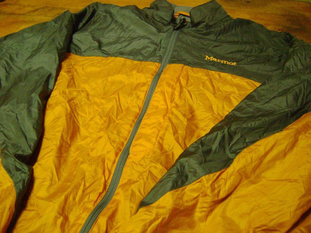 Marmot Mens Fleece Lined Nylon Windbreaker Jacket Size L Gold Gray ...