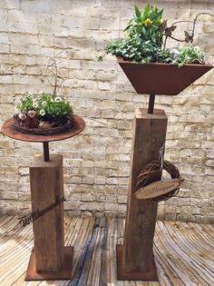 alter holzbalken mit edelrostschale zum bepflanzen jetzt den garten sch n machen bei uns. Black Bedroom Furniture Sets. Home Design Ideas